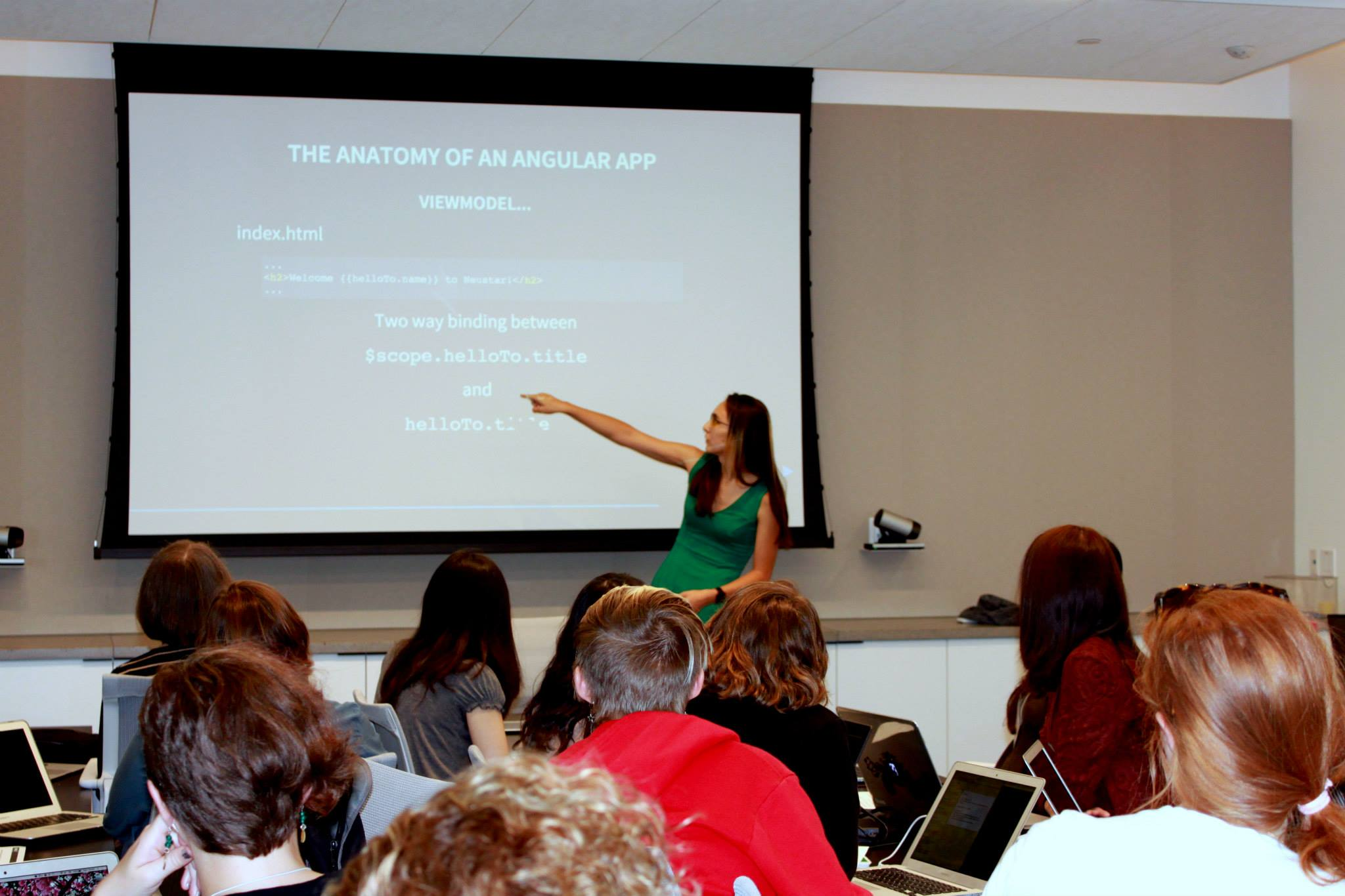 Kwyn Meagher speaks about Angular and Flask at Neustar to Hackbright fellows